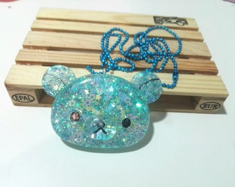 Resin Necklace with Bear Pendant. Crystal effect
