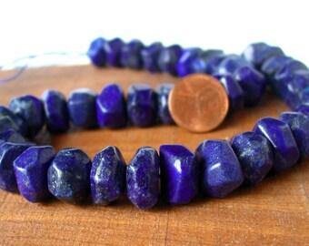 "15"" Lapis Lazuli 14mm RONDELLE FACETED freeform nugget Beads Gemstone - Half / Full Strand"