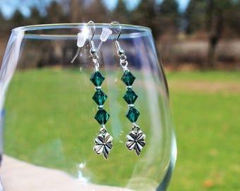 Shamrock and swarovski earrings
