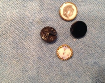 Antique buttons, lithograph, enamel and black glass