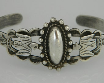 Native American Navajo Old Pawn Fred Harvey Hand Stamped Sterling Vintage Thunderbird Bracelet 1950s
