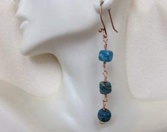 Blue Crazy Lace Agate Copper Wirework Dangling Earrings Drop Earrings Affordable Gemstone Beaded Jewelry Gift for Her Neutral Accessories