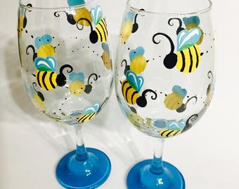 Bumble Bee Wine Glasses