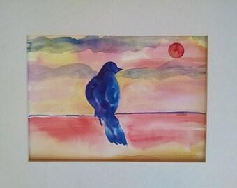 Bird watercolor painting, original watercolor painting