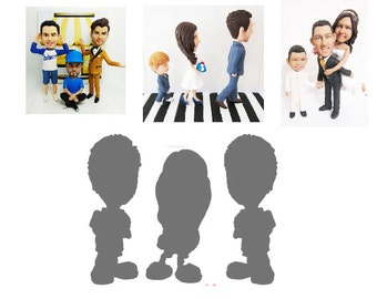 Bespoke Personalised wedding cake topper for 3 & 3D doll  (Free shipping)