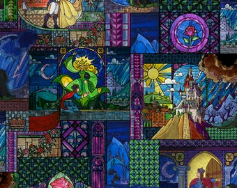 Disney's The Beauty & The Beast 64036 Stained Glass Cotton Fabric by Springs Creative! IN STOCK NOW