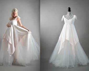 SALE! Tulle and dip dyed satin ball gown. One of a kind. Couture. Maternity gown, bridal gown, or prom gown.