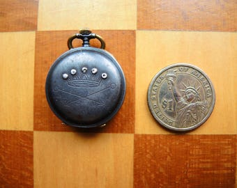 Antique Swiss Made open face small size Pocket Watch / Case with Movement and Dial / Altered Art / Assemblage / steampunk supply PW06a