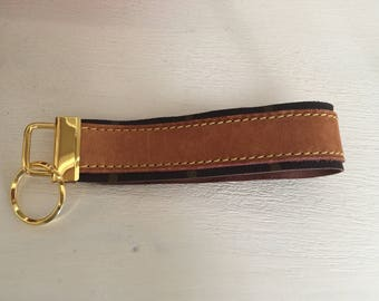SALE Key Fob gold finished hardware key chain made of Louis Vuitton canvas and vachetta #3205
