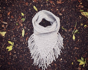 Gray Fringe Cowl Infinity Scarf