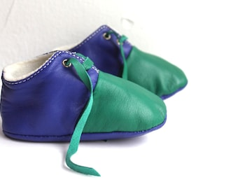 12-18 Months Slippers / Baby Shoes Lamb Leather Owo Shoes green blue
