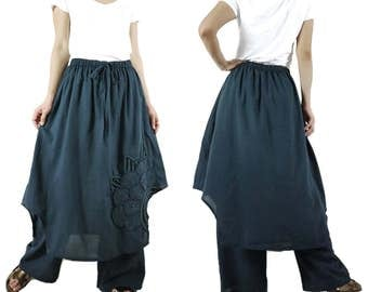 Pants With Skirt - Azo Free Color Dark Charcoal Light Cotton Pants With Skirt And  Floral Applique & Handed Embroidery - P023