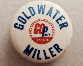 Goldwater 1964 Presidential Campaign Button - Goldwater Miller GOP 1964