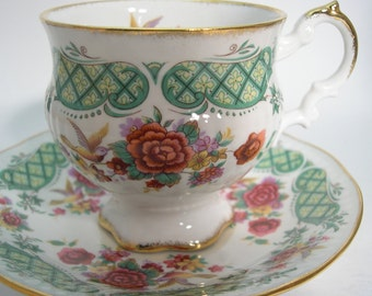 """Elizabethan """" Dovedale """" Tea Cup and Saucer, Floral tea cup and saucer with Hummingbird.."""