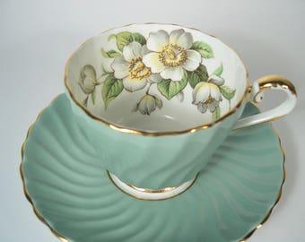 Green Aynsley Tea Cup and Saucer,  Aynsley Dogwood tea cup and saucer, Swirled tea cup and saucer with Dogwood Flowers