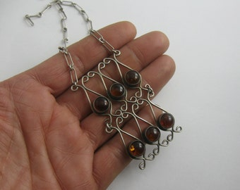 Original Fischlandschmuck: silver (Ag 835) necklace with amber stones. Crafts from Germany. Probably 1970s. Vintage
