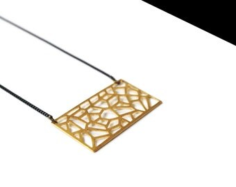 Necklace gold openwork plate.
