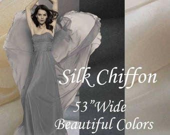 "NEW- pure silk chiffon fabric.Black. White, Cream,Gray, Beige Chiffon Pure Silk Chiffon 6 momme 53""Wide Best Quality Sheer Soft Material"