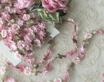 Pink Ombre Ribbonwork Floral Trim - Sold by the Yard - Rayon - Crafts, Sewing, Crazy Quilt, Costumes, Scrapbooking