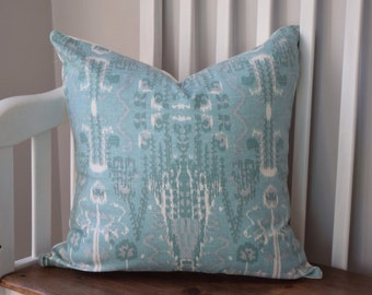 Light Blue Ikat Pattern Pillow Cover