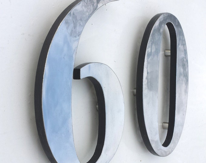 "Polished aluminium 3D 6""/9""/12"" high house numbers in Garamond,   marine lacquered with floating standoff g"
