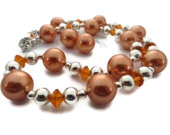 Orange Necklace Set, Chunky Orange Necklace, Orange Statement, Big Orange Earring, Glass Bead Necklace, Orange and Silver,  Orange Dangle