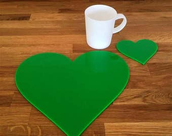 Heart Shaped Placemats or Placemats & Coasters - in Bright Green Gloss Finish Acrylic 3mm