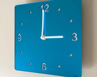 Rounded Corner Square Blue Mirror & White Clock - White Acrylic Back, Blue Mirror Finish Acrylic with White hands, Silent Sweep Movement