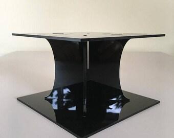 "Plain Square Black Gloss Acrylic Cake Pillars/Cake Separators, for Wedding / Party Cakes 10cm 4"" High, Size 6"" 7"" 8"" 9"" 10"" 11"" 12"""