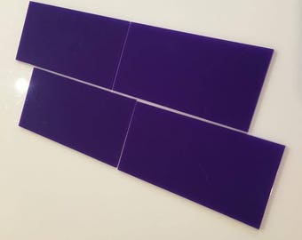 "Purple Gloss Acrylic Rectangle Crafting Mosaic & Wall Tiles, Sizes: 1cm to 25cm -  1"" to 10"""