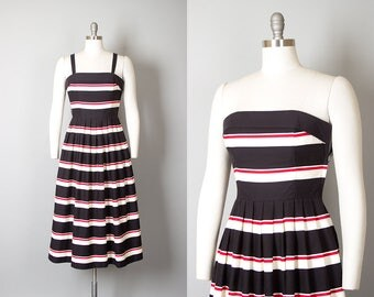Vintage 1950s Style Dress | 70s LANZ Striped Cotton Black Red White Strapless Full Skirt Sundress with Pockets (small)