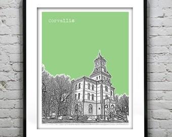 Corvalis Skyline Poster Art Print Washington WA Version 1