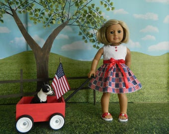 doll clothes American Girl doll, 4th of July doll clothes, 18 inch doll clothes