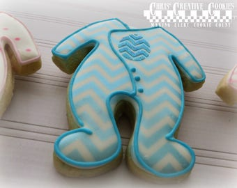 All in One Baby suit , for Baby Shower!  One dozen (12) Custom Decorated cookies
