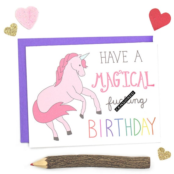 Funny Birthday Card, Magical Unicorn Birthday Card, Happy Birthday Mature Card, Adult Birthday Card, Rainbow card, Unicorn Card, Funny