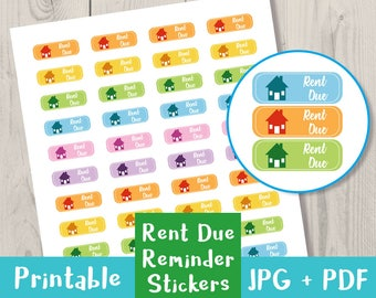 Rent Due Stickers, Pay Rent Stickers, Printable Planner Stickers, Rent Reminder Stickers, Life Planner, Filofax + Others, Instant Download