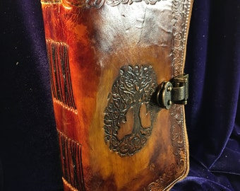 Handmade for Jo Tree of Life Leather Journal 6x9, 600 pages & Owl Quill Pen