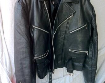 Biker Jacket Leather Jacket, Black Leather Motorcycle Jacket, Leather Coat, Italian Leather, Leather Biker, Vintage Motorcycle Heavy Leather
