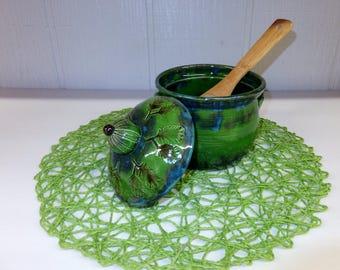 Green Pine Needle Casserole, Wild Jade Forest Kitchen Canister