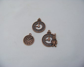 Steampunk Trio of Clock Charms 4867