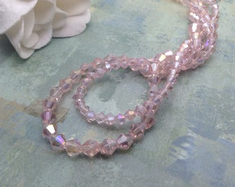 Crystal Beads / Faceted Crystal Beads / Pink Faceted Crystal Bicone Beads / 4 mm and 6 mm / Faceted Crystal Bicones 4 mm, 6 mm