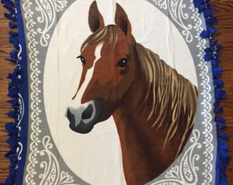 Horse Fleece Tie Blanket
