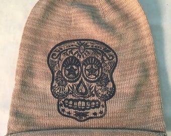 Sugar Skull - Calavera cotton beanie slouch hat