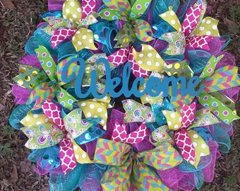 XXL 25x29 Ready to Ship Deco Mesh Multi Pattern Front Door Wreath with add on wlecome or Easter options