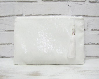Wedding Clutch/White Sequined Night  Handbag - 10''Tablet Case and Hand Bag