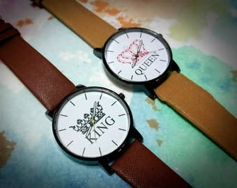 Free Fast Shipping/Valentine's Day Gift/King and Queen Two Color Strap Couple Watches/Watches for Romantic Couples