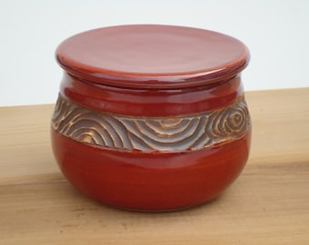 Red Pottery French Butter Dish with hand carved design, ceramic butter dish, ceramic butter keeper