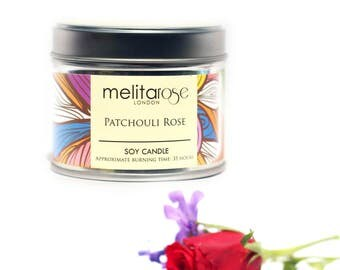 Patchouli & Rose Soy Scented Candle Tin