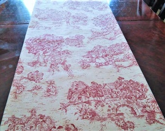 Red Toile Table/Bed Runner, French Toile Table Cloth/Scarf, French Table/Bed Linen, 16''x90'' Buffet Runner, Dresser Runner, Toile Scarf.