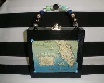 Vintage Blue Florida Map Cigar Box Purse, Tampa, Authentic